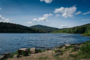 Blick auf das Wasser mit Steinen am Ufer im Vordergrund und den Bergen des Schwarzwald im Hintergrund